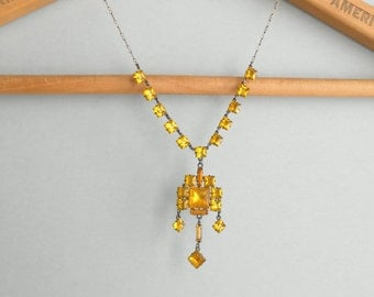 Art Deco Sterling Necklace. Yellow Vauxhall. Geometric Fringe. Bright Bridal Wedding.