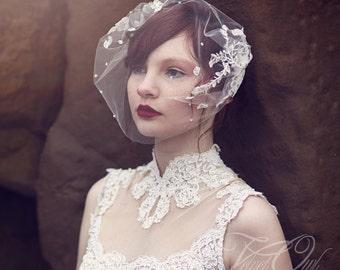 wedding veil,birdcage veil, lace bandeau veil, antique lace veil, vintage lace veil, beaded veil, pearl veil, couture veil,