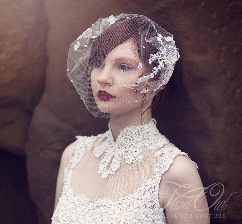 Lace Birdcage Veil Bridal Veil Tulle Birdcage Veil Lace