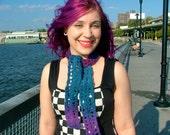 Purple, Blue Fashion Scarf, Crochet, Ready To Ship