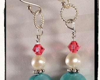 Aqua and White Freshwater Pearls with Raspberry Swarovski Crystals--Sterling Silver Earrings--Free US Shipping