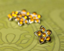 5 Rhinestone Buttons - Yellow Star Buttons - Kendall Button - 25mm - Plastic Buttons - Acrylic Buttons