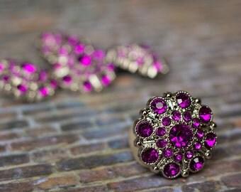 5 Purple Rhinestone Buttons - Acrylic Rhinestoe Buttons - Wholesale Rhinestone Buttons - Special Button - 28mm - Plastic Buttons