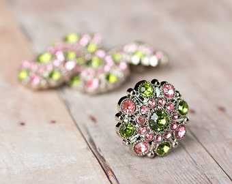 Rhinestone Buttons - Set of 5 28mm - Green / Pink - Acrylic Plastic Rhinestone Buttons - Special Button