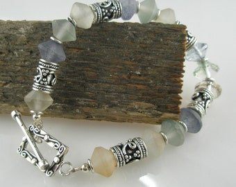 Sea Glass Bracelet and Oxidized Sterling Silver Beads and Toggle