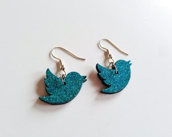 Teal glitter Twitter bird earrings