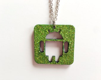 Green glitter Android logo necklace