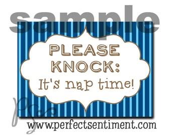 Please Knock sign  -blue pinstripe-