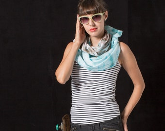 Hand dyed shibori cotton scarf. Tie dyed Unisex scarves. Taupe aqua hand dyed scarf. Long multicolored scarf