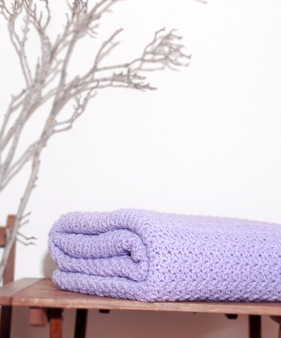Ready to Ship   Beautiful and Luxuriously Handcrafted CROCHET Blanket Throw LIGHT LAVENDER