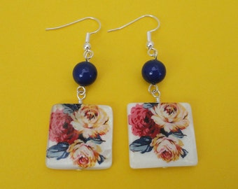 Floral Print Square Shell Earrings