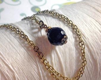 Honest Onyx - black onyx round gemstone brass necklace