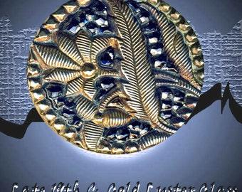 Button ~ Late 1800s Sparkly Black Glass under Art Nouveau Floral Motif  Brass