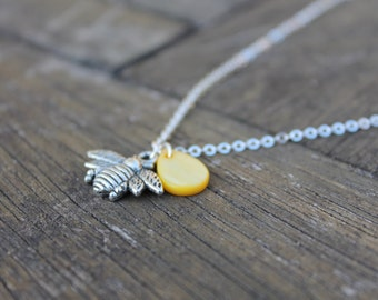 Honey Bee Charm Necklace- Bee Silver Bumblebee Honey Drop Necklace