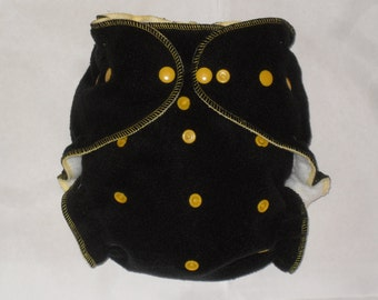 Black  fleece diaper cover wrap with gold snaps