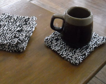 Clearance Hand Knitted Cotton Mug Rug Coasters in Natural and Black