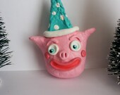 Pink Party Piggy Folk Art Christmas Ornament  OOAK