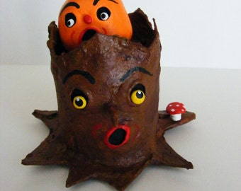 Spooky Folk Art Haunted Halloween Tree Stump and Mini Pumpkin Set OOAK