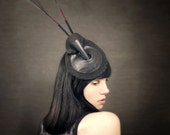Black Felt Fascinator With Peacock Feathers -Stag Beetle - Arthropod Series - Made to Order