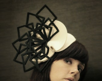 Cream Felt Hat with Black Felt Fan Accent - Fractal Series - Made to Order