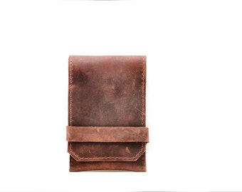 Burgundy Leather iPhone Case and Card Wallet - Rustic Industrial Steampunk