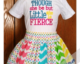 She Be Fierce Toddler Twirl Skirt and Embroidered Shirt Set - Size 24m/2T - Chevron Fabric - Toddler Outfit