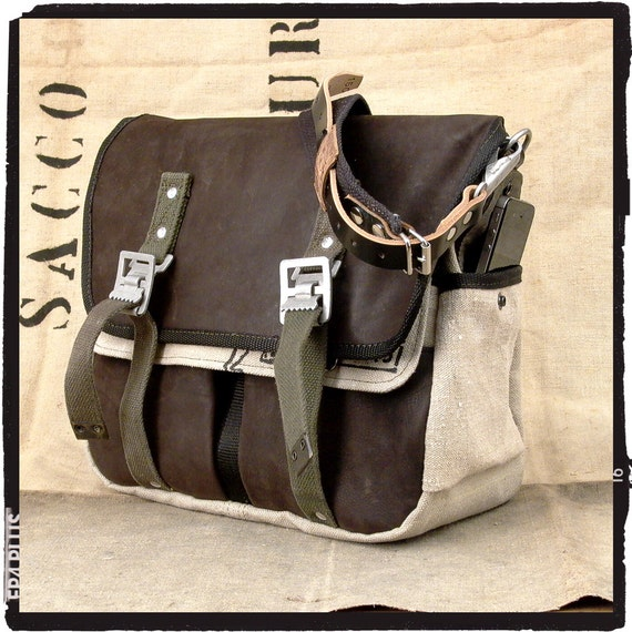 Leather Messenger Bag, Cross Body Bag, Classic Messenger, Unisex Bag, Recycled Leather Jacket + Military Duffel / Upcycled in GERMANY-2090