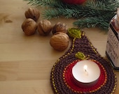 Crochet Christmas Coasters - Christmas Pear Coasters - Gift under 20 - Christmas Table Decor - Set of 2
