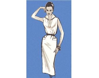 1960s Vintage Dress Pattern Mail Order 9296 Wiggle Dress Slim Sheath Dress Collar Womens Sewing Pattern Size 12