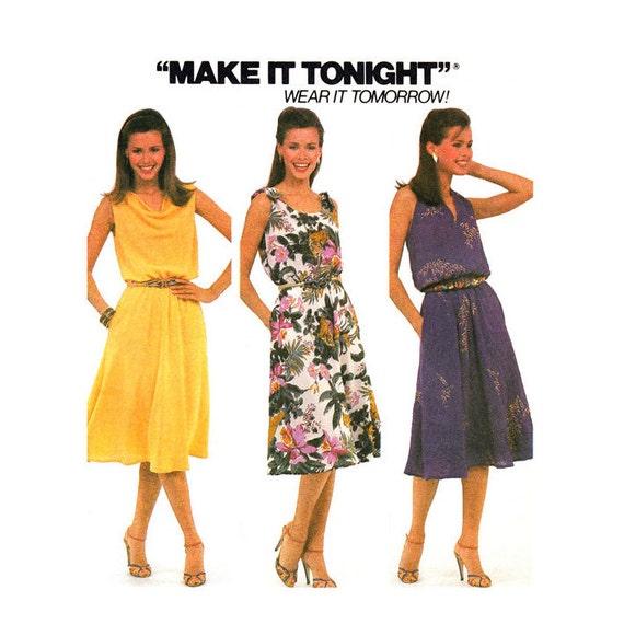1980s Dress Pattern McCalls 7585 Halter Dress Cowl or Shoulder Tie Flared Dress Size 10