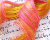 SALE the P I N K . L E M O N A D E . Human Hair clip in 12 inches baby pink and yellow pink lemonade summer Christmas yule holiday