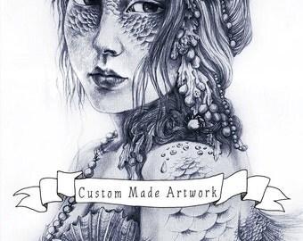 Custom Art Bookings, DEPOSIT 50% for Custom Made Artwork, Traditional Illustration, Pencil Drawing