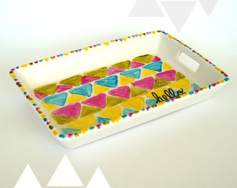 On Sale Ceramic Tray with Handles Hand Painted Modern Home Decor Triangles Geometric Turquoise Blue Green Pink Yellow