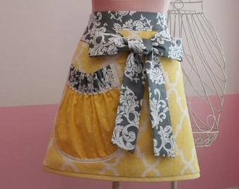 Towel Waist Apron -  Garden Trellis - Yellow and Grey