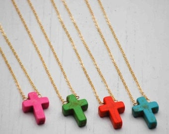 CROSS Necklace Rustic Modern Colorful Cross Pink Turquoise Green Orange Rainbow