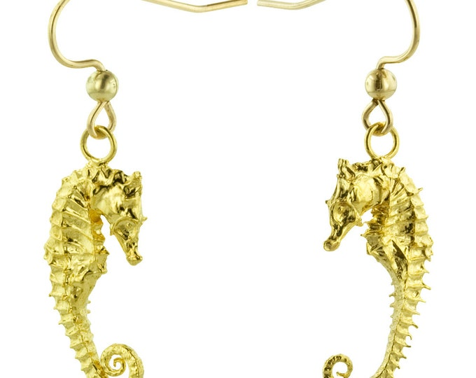 Gold Seahorse Earrings // Cast from Real Seahorses