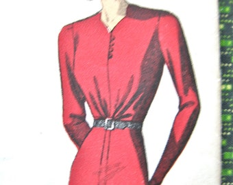 Uncut 1930s Pictorial Review Printed Pattern 9352 One-Piece Dress Pattern  Bust 40 inches