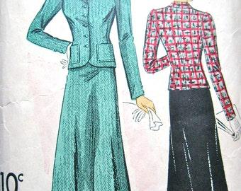1930s Du Barry 2072B Vintage 30s Women's Suit Sewing Pattern   Bust 34 Hip 37