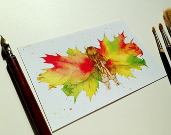 Autumn Leaf Fairy - Art Print 4x6