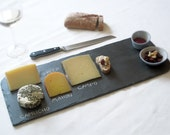 Set of 2 BLUE Porcelain Nesting Mini-Bowls & XL Black Salvaged SLATE Cheese Board—Limited Edition—Housewarming, Holidays, Wedding Registry