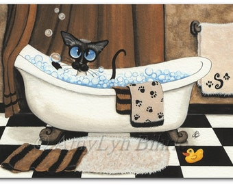 Siamese Cat Bubble Bath - Custom Monogram Letter on Towel - Art Prints by Bihrle ck323
