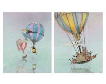 Wall Art Print Set - Hot Air Balloon - Steampunk Art - giclée Fantasy Art Print  - Pink  - Grey - Fairy Tale Art by the Filigree