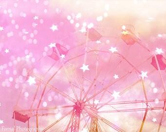 Pink Carnival Ferris Wheel Prints, Dreamy Pink Ferris Wheel, Baby Girl Nursery Decor, Carnival Ferris Wheel Photos, Baby Girl Nursery Prints
