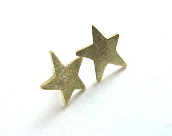Little Gold Star Studs -  Solid 14k Yellow Gold Post Earrings
