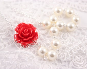 Bridesmaid Jewelry Red Rose and Pearl Wedding Necklace