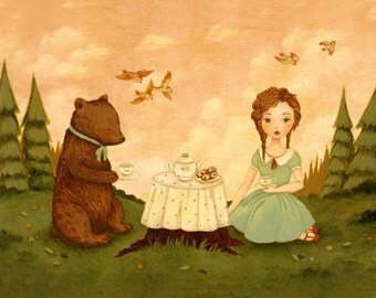 The Bear Who Came To Tea Print 10x8 - Children's Art, Girl, Picnic, Pink, Mint, Green, Cream, Tea Party, Forest, Nursery, Cute, Pastel, Kids