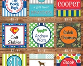 24 Square Personalized Boy Enclosure Cards or Gift Stickers - Choose ONE DESIGN