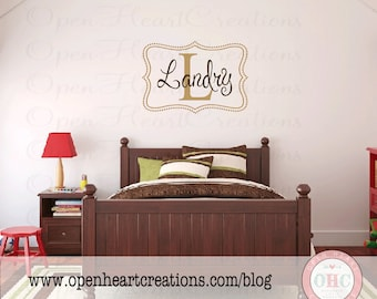 Personalized Baby Girl or Boy Name Wall Decal - Custom Monogram Vinyl with Polka Dot Frame Border 22H x 32W FN0319