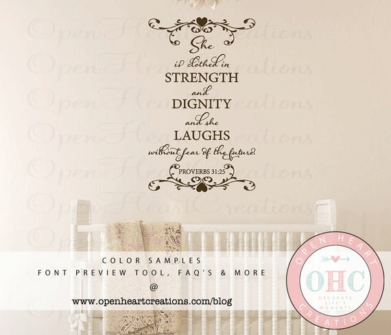 Scripture Wall Decals She Is Clothed In Strength And Dignity