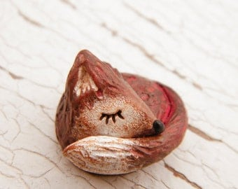 Little Red Fox bead - Sleepy Woodland Critters hand painted forest animal bead (ready to ship)